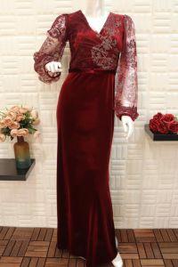 فستان قطيفة نسائي اسبور ناعم طويل احمر