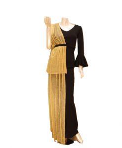 فستان اسبور ناعم (كم طويل )-اصفر اسود  (4 حبات)