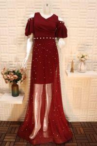 فستان نسائي اسبور ناعم طويل بطبقة شفافة ,احمر
