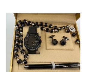 لويس نايس - طقم ساعة و قلم و مسبحة وكبك اسود