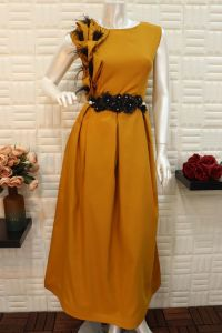 فستان ناعم نسائي اسبور طويل برتقالي