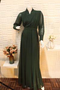 فستان نسائي اسبور ناعم طويل اكمام شفاف زيتي
