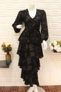 فستان نسائي اسبور طويل بدوش لفات واسع  -أسود