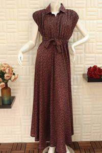 فستان تركي نسائي اسبور ناعم طويل - احمر مقاسات متعددة