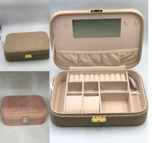 طقم حقائب مكياج ومستلزمات تجميل  بأرفف -قطعتين