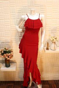 فستان نسائي اسبور للسهرات ناعم طويل احمر