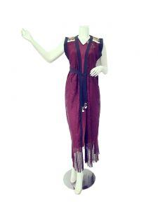 فستان جورجيت طويل بدون اكمام مطرز