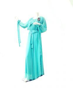 فستان ناعم سبور شيفون كم طويل - سماوي