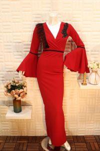 فستان نسائي اسبور ناعم طويل ,صدر مفتوح احمر