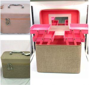 طقم حقائب مكياج ومستلزمات الجمال بأرفف -قطعتين