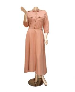 فستان اسبور ناعم ازرار (كم طويل )-وردي (4حبات)
