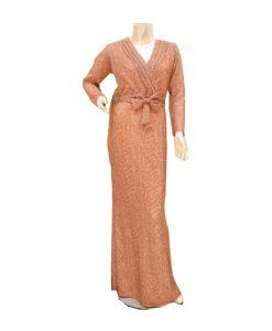 فستان اسبور ناعم (كم طويل )-وردي  (4 حبات)