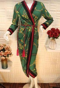 فستان نسائي اسبور ناعم بحزام وسط مقاس S اخضر