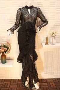 فستان سهرة نسائي خامة تركي اسبور ناعم طويل اسود