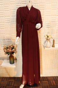 فستان نسائي اسبور ناعم طويل اكمام شفاف احمر