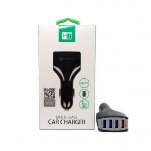 3.0Q CAR FAST CHARGER 4 USB HEATZ.تخفيض 20% على الكميه  شاحن سيارة بثلاث منافذ يو اس بي  ومنفذ بتقنية الكوالكوم للشحن السريع اسود