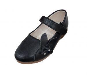 حذاء بناتي اطفال سادة-أسود لماع