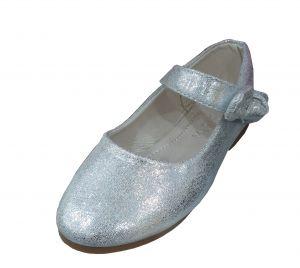 حذاء بناتي اطفال سادة-فضي لماع