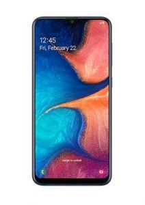 هاتف جالاكسي A20  ضمان الحداد ثنائي الشريحة لون أزرق وبذاكرة داخلية سعة 32 غيغابايت ويدعم خاصية الجيل الرابع LTE