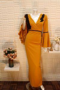 فستان نسائي اسبور ناعم طويل ,صدر مفتوح برتقالي