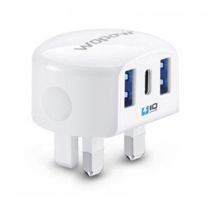 WOPOW A15 (2 USB IQ+ 1 Type-C ) PowerBoost شاحن جداري ووبو ضمان سنتين -ابيض