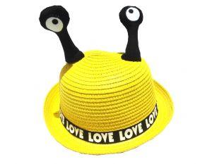 قبعة بناتي  منوع دزن (12 قطعة (-اصفر