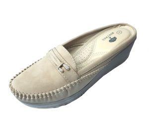 حذاء نسائي فلات فرو بلون بيج