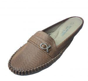 حذاء نسائي فلات جلد صناعي  بلون بني