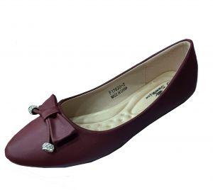 حذاء نسائي فلات جلد صناعي  بلون احمر