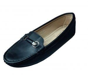 حذاء نسائي فلات جلد صناعي  بلون اسود