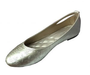 حذاء نسائي فلات  بلون ذهبي لماع