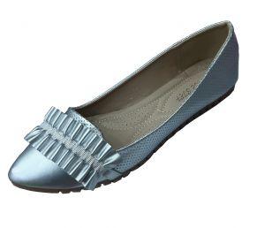 حذاء نسائي فلات  بلون سماوي لماع