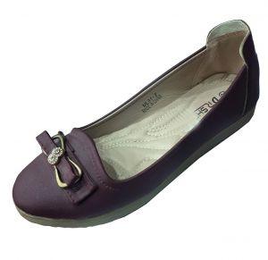 حذاء نسائي فلات جلد صناعي  بلون كبدي