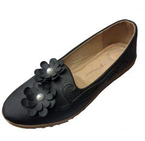 حذاء نسائي وردة فلات جلد صناعي  بلون أسود