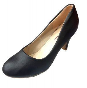 حذاء نسائي كعب مسطح جلد صناعي بلون أسود