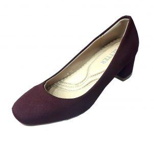 حذاء نسائي كعب مسطح قماش بلون كبدي
