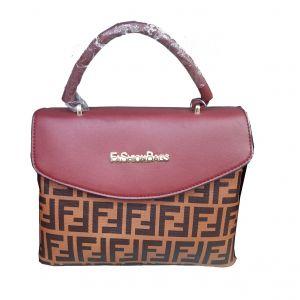 حقيبة يد نسائية تصميم عصري لون احمر-بني