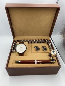 لويس نايس - طقم ساعة وقلم ومسبحة وكبك - بني