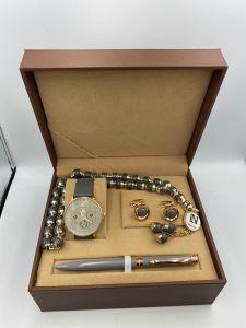 لويس نايس - طقم ساعة وقلم ومسبحة وكبك - رصاصي