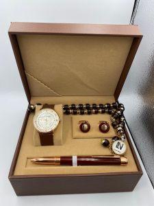 لويس نايس - طقم ساعة وقلم ومسبحة وكبك عودي