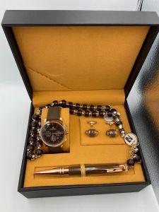 لويس نايس - طقم ساعة وقلم ومسبحة وكبك لون بني