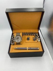 لويس نايس - طقم ساعة وقلم ومسبحة وكبك لون رمادي