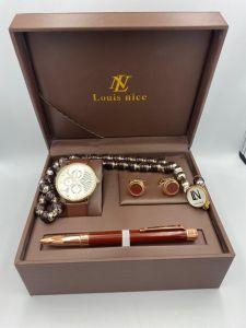 لويس نايس - طقم ساعة وقلم ومسبحة وكبك احمر وذهبي