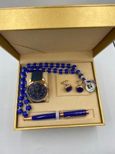 لويس نايس - طقم ساعة وقلم ومسبحة وكبك ازرق