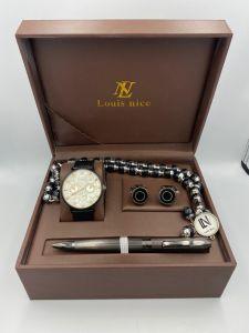 لويس نايس - طقم ساعة و قلم ومسبحة وكبك اسود وكروم