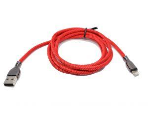 كيبل ايفون قماش مرن بميزة الكويك تشارج من كيوتيس kutis ضمان سنتين-احمر-1.2متر