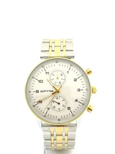 SFNY- ساعة رجالية ستيل راقية خلفية بيضاء -ذهبي وفضي