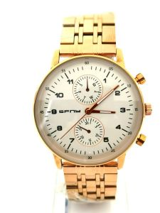 SFNY- ساعة رجالية ستيل راقية خلفية بيضاء -ذهبي