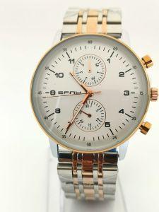 SFNY- ساعة رجالية ستيل راقية خلفية بيضاء -فضي وبرونزي
