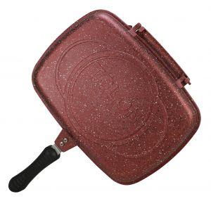Tolon - مقلاة جرانيت مزدوجة 36 سم لون احمر